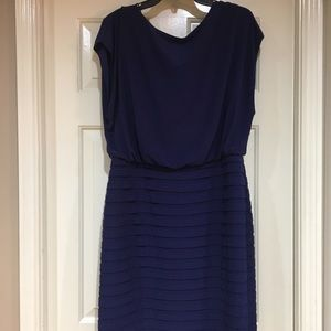 Adriana Papell Blue Midi Shutter Pleat Dress